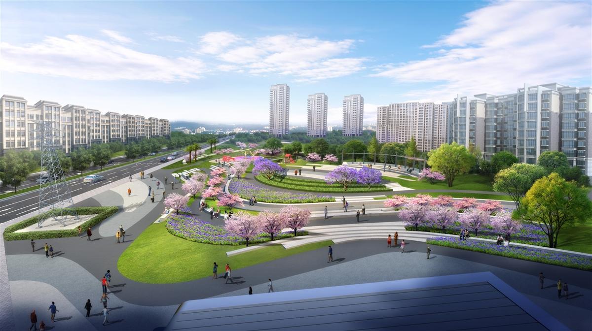 邮票绿地是龙泉驿规划打造的小游园,微绿地,一般选址在城区道路交叉口图片
